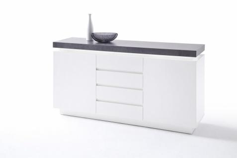 Ocean Sideboard Weiß MDF lackiert mit Beton