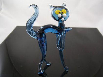 Katze Groß 1 blau - Glastier