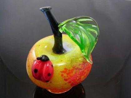 Apfel mit Marienkäfer groß 1 - Glastier