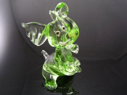 Elefant grün(sitzend)1 - Glastier