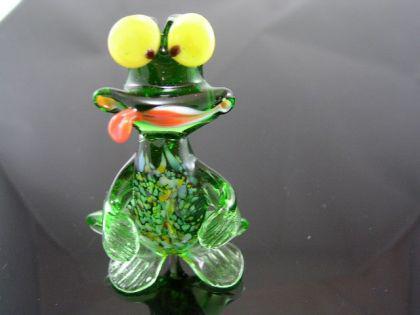 Frosch-Frog glasfigur, glass animal-9 - Glastier