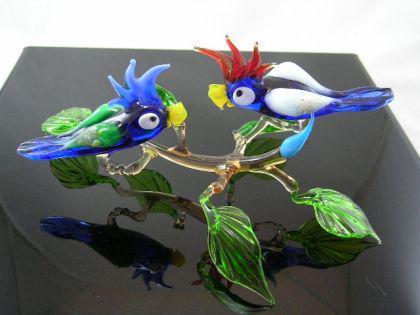 2 Papageien auf Ast-6 - Glastiere