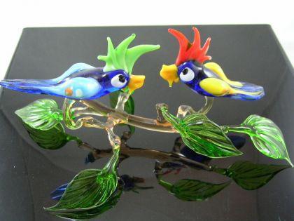 2 Papageien auf Ast-18 - Glastiere