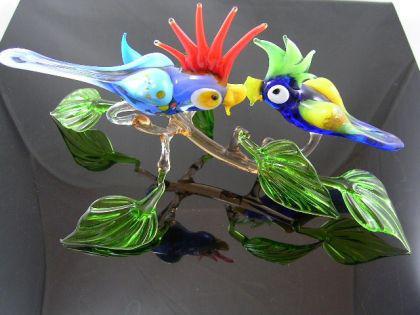 2 Papageien auf Ast 29 - Glastiere