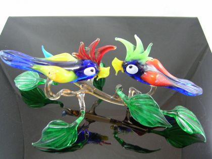 2 Papageien auf Ast 34 - Glastiere
