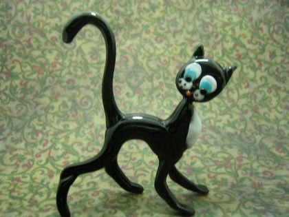Katze schwarz 1 - Glastier