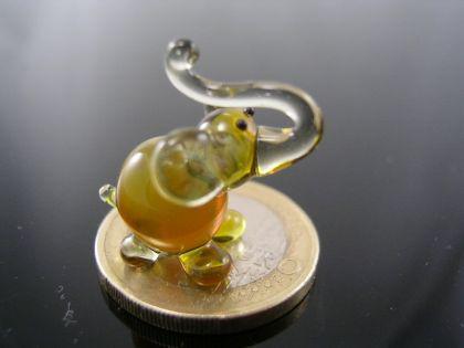 Elefant mini gelb 2-Glasfigur