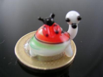 Schildkröte mini mit Marienkäfer 3 -Glasfigur