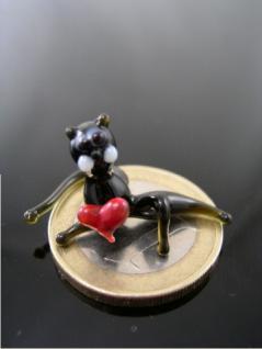Katze mini mit Herz-Glasfigur