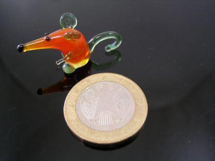 Maus mini -Glasfigur -grün-orange