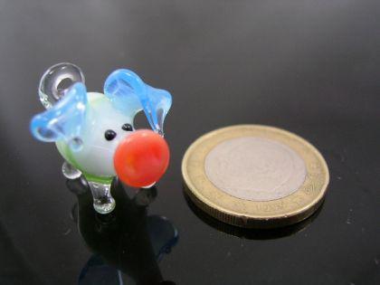 Schwein mini Glasfigur-k-1 grün -blau