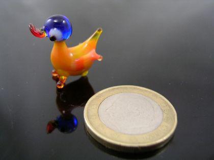 Ente mini Glasfigur-k-1-gelb-blau
