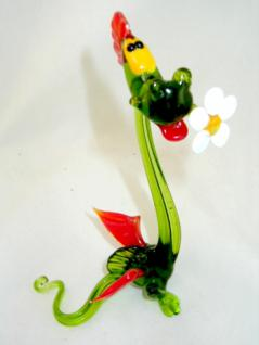 Drache mit Blume-Dragon-Glasfiguren-Glastiere-Glass