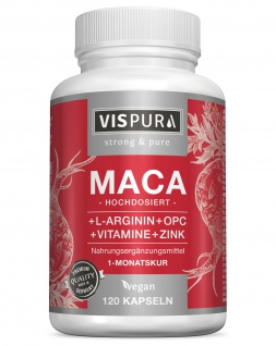 Maca Kapseln hochdosiert + L- Arginin + OPC, Zink, Vitamin B6, B12