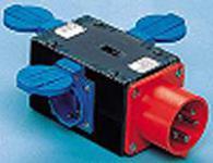 CEE Verteiler-Würfel 16A 400V, 3x Schuko