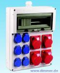 Elektroverteilung CEE 32A, 8x Schuko /Fi IP54