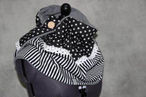 XL Wende Schal Rechteckstuch Tuch Sterne Streifen grau