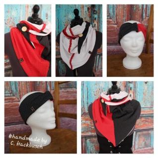 XL Wende Schal Dreieckstuch + Stirnband Tuch Punkte Streifen schwarz weiß gepunktet Bindetuch handmade