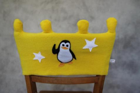 Stuhl Husse Krone Name Stuhlhusse Überwurf Pinguin Kindergarten Tagesgruppe handgefertigt
