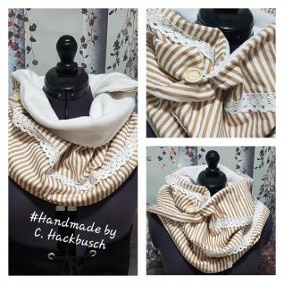 XL Wende Schal Rechteckstuch Tuch Streifen beige
