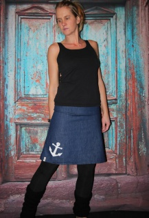 Jeansrock, Anker, Jeans Rock, blauer knielanger Rock, A Form, Gr. 36 - 44 handgefertigt