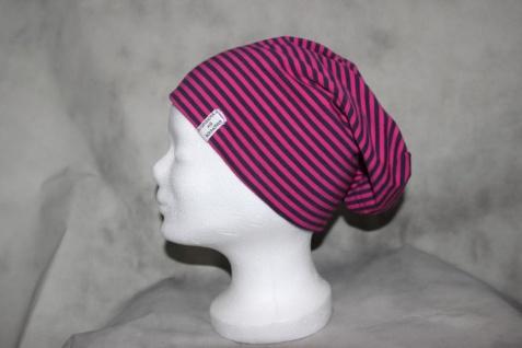 Wende Beanie Mütze gestreift Sterne lila pink Schlapphut
