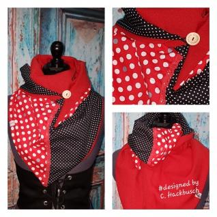 XL Wende Schal Dreieckstuch Tuch Punkte rot weiß handmade