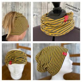 Beanie Mütze Stirnband Loop gestreift Schlapphut Zopf Beanie handmade