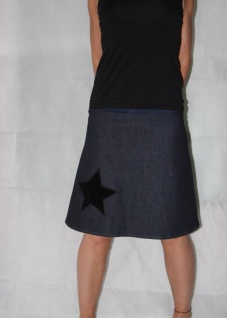 Jeansrock, Stretch Rock, Stern, Jeans Rock, blauer knielanger Rock, A Form, Gr. 36 - 44 handgefertigt - Vorschau 4