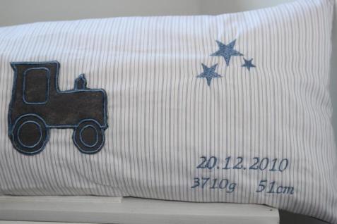 Geburtskissen XXL Namenskissen Traktor Stern Deko Kissen 25x60 handgefertigt - Vorschau 4