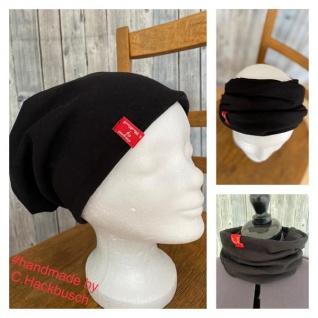 Beanie Mützen Stirnband Loop schwarz Schlapphut Zopf Beanie handmade
