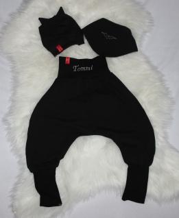 Batman Baby Set schwarze Pumphose mit NAME Mütze Tuch Fledermaus handgefertigt - Vorschau 4
