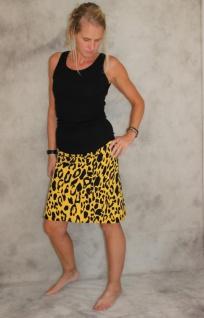 Jersey Rock gelb gefleckter Stretch Rock A- Form mini Jersey gelb/schwarz handgefertigt