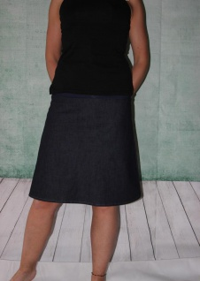 Jeansrock, Stretch Rock, Jeans Rock, blau oder schwarz knielanger Rock, midi Gr. 36 - 44 handgefertigt - Vorschau 2