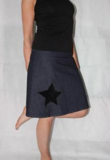 Jeansrock, Stretch Rock, Stern, Jeans Rock, blauer knielanger Rock, A Form, Gr. 36 - 44 handgefertigt - Vorschau 3