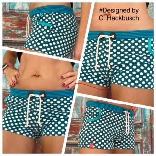 Hotpants türkis Punkte Hot Pants Stretch Shorts mini Jersey Shorty kurze Hose Damen handgefertigt