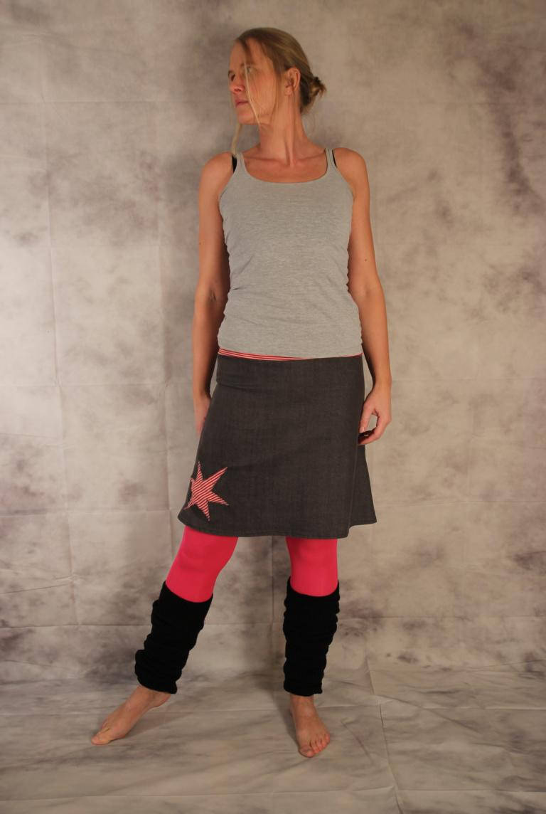 low priced bfe06 0af83 Jeansrock, A-Form, Rock, Jeans Rock, Stern, knielanger Rock, Stretch Rock  Gr. 36 - 44