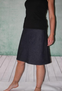 Jeansrock, Stretch Rock, Jeans Rock, blau oder schwarz knielanger Rock, midi Gr. 36 - 44 handgefertigt - Vorschau 3