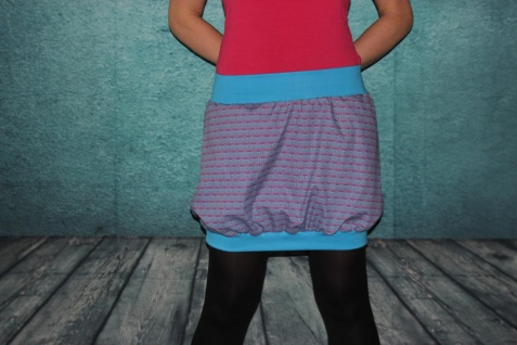 Ballonrock, Ballon-Rock, pink blau, Rock, midi Gr. 36 - 44 handgefertigt - Vorschau 3