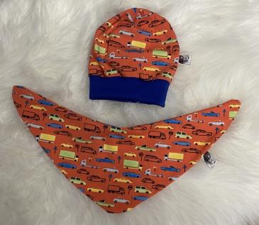 Baby Set orange Pumphose Mütze Tuch handgefertigt - Vorschau 5