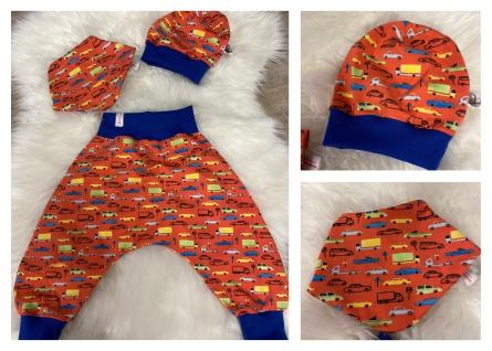 Baby Set orange Pumphose Mütze Tuch handgefertigt
