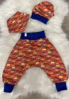 Baby Set orange Pumphose Mütze Tuch handgefertigt - Vorschau 2