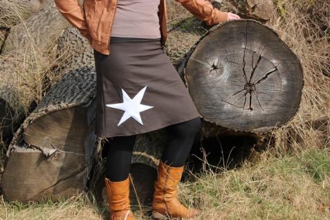 brauner Jeans Rock, Stern, Ausgestellter Rock, knielanger Rock handgefertigt