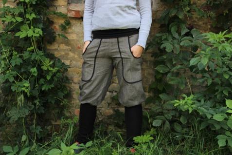 Knickerbocker, Pumphose, Jeans mit Stulpen, graue Jeanshose handgefertigt