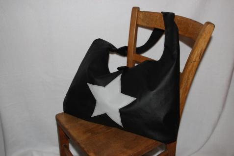 Kunstleder Tasche XXL Stern groß grün oder schwarz handgefertigt