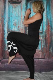 schwarze Goa Hose mit Om Zeichen Haremshose Pumphose Sarouel Baggy Hose Hippie Goa handgefertigt