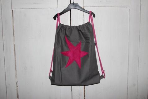 grauer Turnbeutel Beutel Stern pink Tasche Rucksack handgefertigt