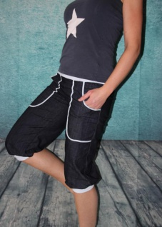 Knickerbocker Pumphose Jeans 3/4 Hose Jeanshose Ballonhose kurz handgefertigt