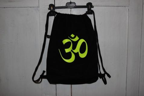 Goa Turnbeutel Om schwarzer Beutel Tasche Rucksack handgefertigt
