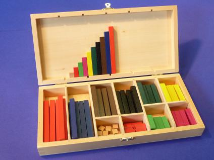 "100-teilig Kinder Rechenstäbe Cuisenaire Lernspielzeug in HOLZBOX ""TOP"""